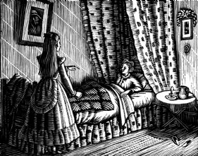 wood-engraving print: Clarice Angry for The Runaway
